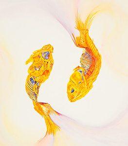 Pisces. Gouache on paper. 14x18. Brandi Malarkey, ItsAllMalarkey.com