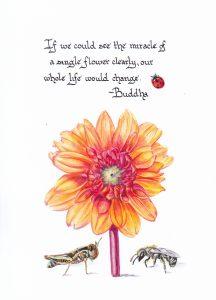 A Single Flower. Calligraphy & Gouache 4x6 Brandi Malarkey, artist. Itsallmalarkey.com
