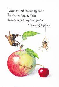By Their Fruits Calligraphy & Gouache 4x6, Brandi Malarkey, artist. ItsAllMalarkey.com