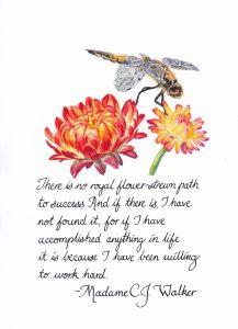 Flower-strewn Calligraphy & Gouache 4x6 Brandi Malarkey, artist. Itsallmalarkey.com