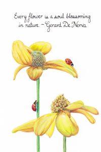 Soul blossoming. Calligraphy & Gouache 4×6 Brandi Malarkey, artist. ItsAllMalarkey.com