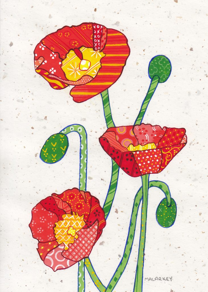 Patchwork memories. Karen. Gouache on paper. Brandi Malarkey, artist. ItsAllMalarkey.com