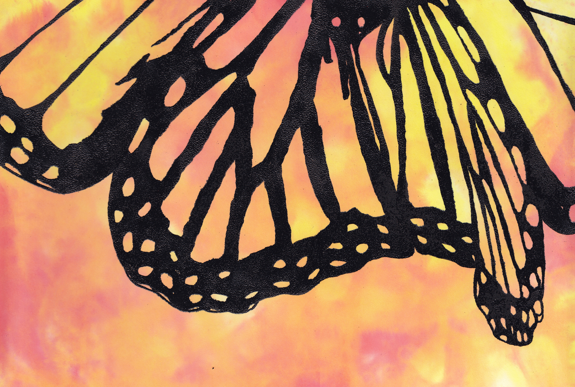 Monarch Butterfly. Polymide Resin on Watercolor. 13.35x9.25 Brandi Malarkey, artist. ItsAllMalarkey.com