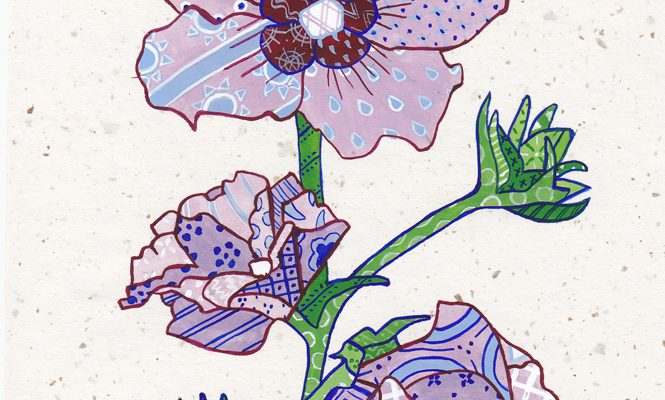 "Patchwork memories. ""Elizabeth"". Gouache on paper. Brandi Malarkey, artist. ItsAllMalarkey.com"