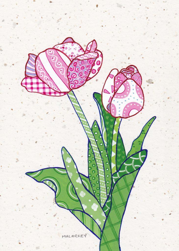 "Patchwork memories. ""Amy"". Gouache on paper. Brandi Malarkey, artist. ItsAllMalarkey.com"