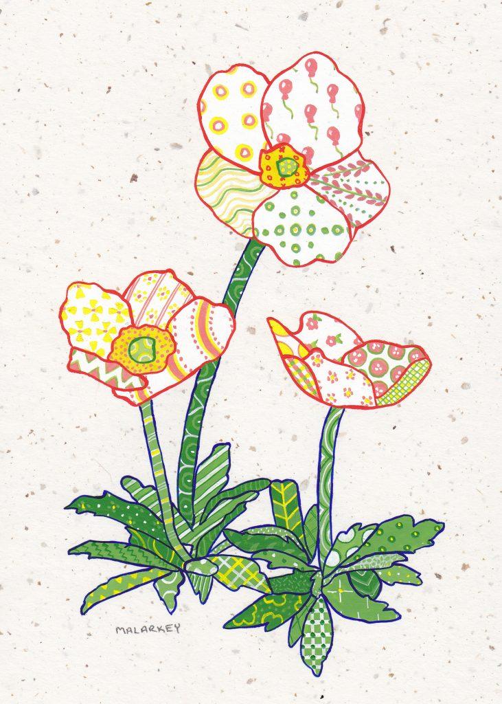 "Patchwork memories. ""Chantal"". Gouache on paper. Brandi Malarkey, artist. ItsAllMalarkey.com"