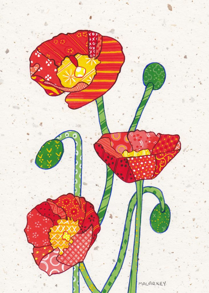 "Patchwork memories. ""Karen"". Gouache on paper. Brandi Malarkey, artist. ItsAllMalarkey.com"