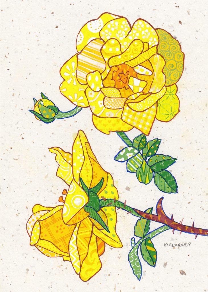 "Patchwork memories. ""Linda"". Gouache on paper. Brandi Malarkey, artist. ItsAllMalarkey.com"
