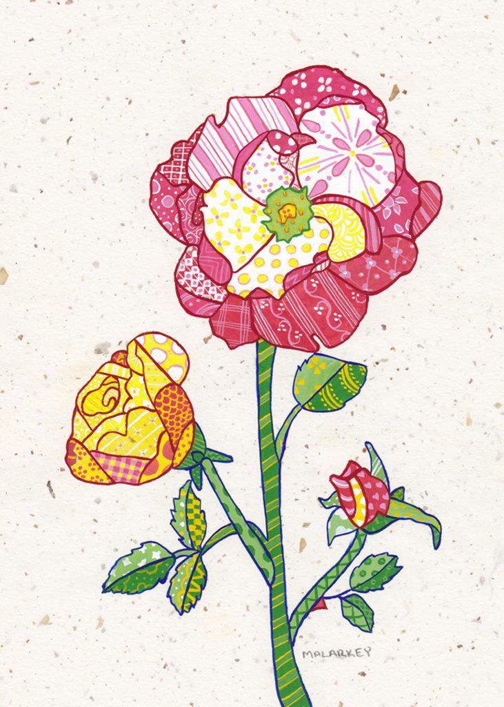 "Patchwork memories. ""Lorine"". Gouache on paper. Brandi Malarkey, artist. ItsAllMalarkey.com"