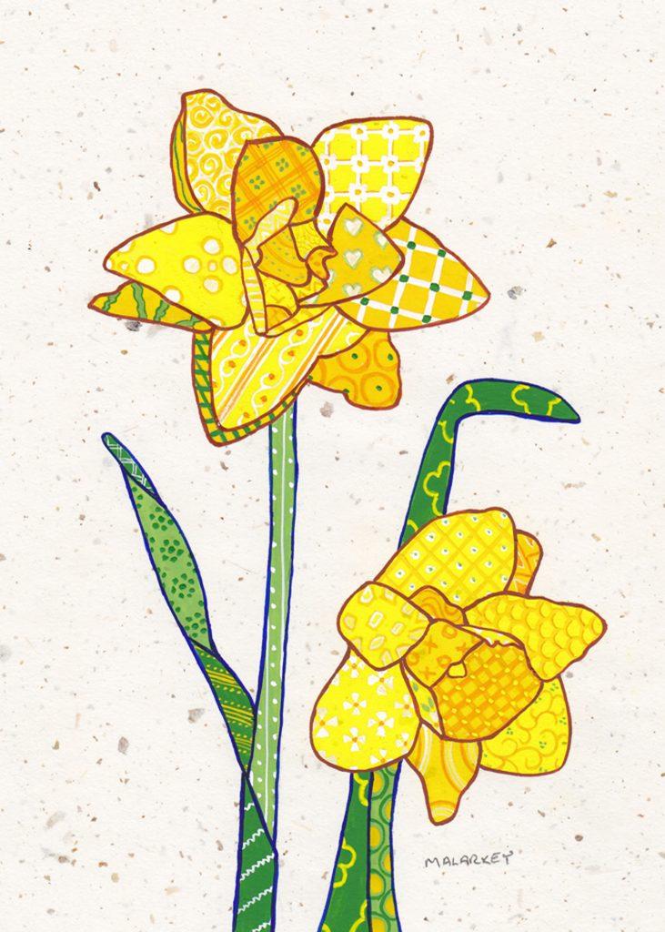 "Patchwork memories. ""Ramona"". Gouache on paper. Brandi Malarkey, artist. ItsAllMalarkey.com"